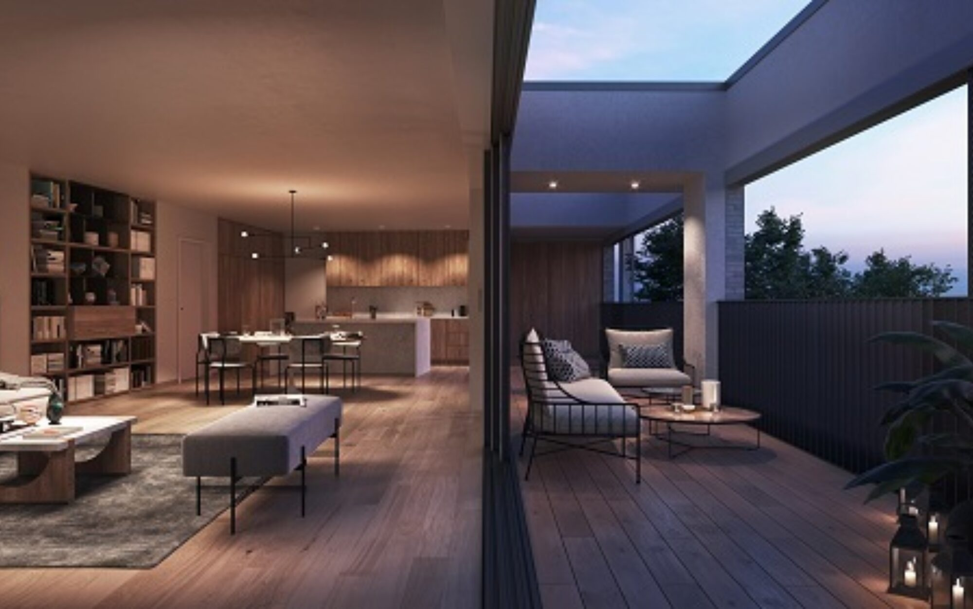 Kolmont Refuga penthouses te koop interieur Hasselt sunset